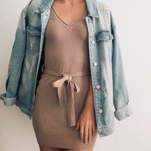 BCBGMaxAzaria Tan Brown Sleeveless Sweater Dress